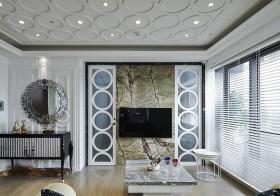 裂纹感欧式客厅电视墙设计