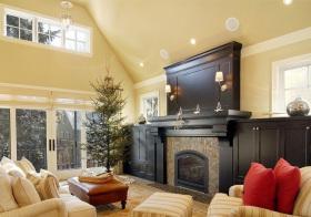 温馨混搭客厅壁炉设计