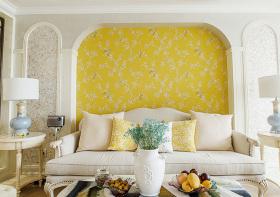 明亮美式客厅背景墙设计
