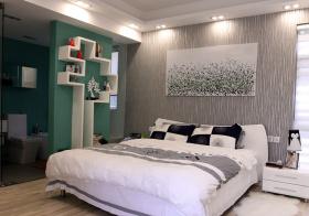 灰色现代卧室背景墙设计