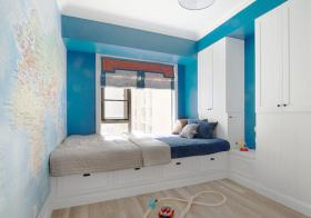 蓝色简约卧室榻榻米设计