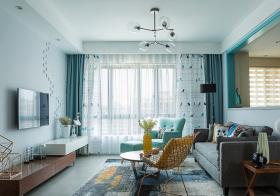 浪漫北欧客厅窗帘设计