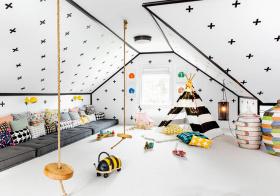 黑白北欧阁楼儿童房设计