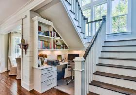 黑白北欧转角楼梯设计