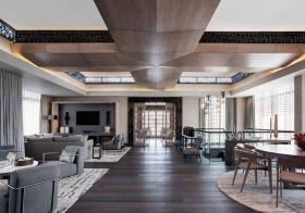 大气新中式客厅吊顶设计