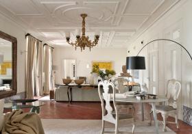 纯色田园客厅吊顶设计