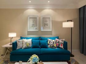 蓝色地中海风格客厅设计图片欣赏