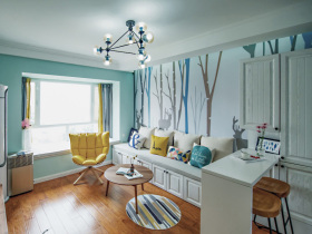 北欧浅蓝夏季清新舒适客厅设计