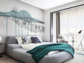 现代简约灰色卧室背景墙设计