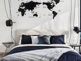 黑白地图元素简欧北欧宜家卧室设计