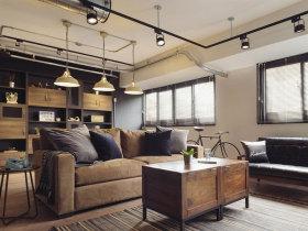 现代粗犷工业风水泥色客厅设计