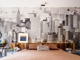 现代简约手绘素描卧室背景墙设计