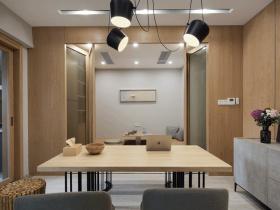 原木风简雅开放式餐厅设计