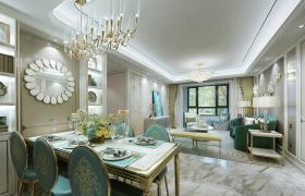 欧式孔雀蓝餐厅设计