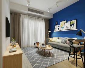 蓝色背景墙艺术设计