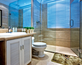 蓝色通透洗手间设计