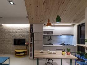 原木日式开放式餐厅厨房设计