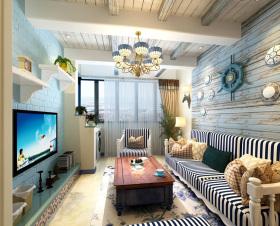 地中海海洋色学习客厅装饰设计