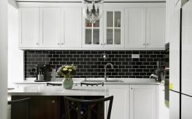 白色北欧小清新开放式厨房吧台设计