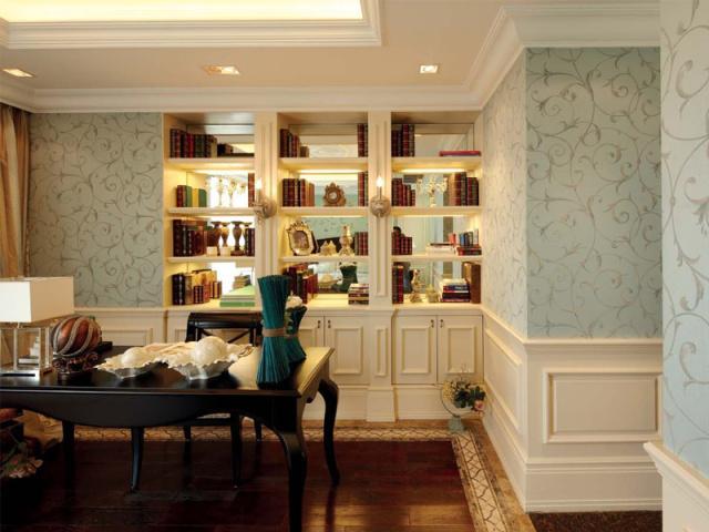 镂空式的书柜设计,增强空间的层次感。