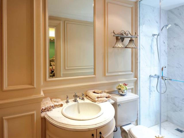 贝壳条纹的洗手台,一个充满创意的设计。