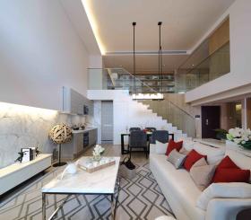 白色简欧优雅大气loft客厅设计