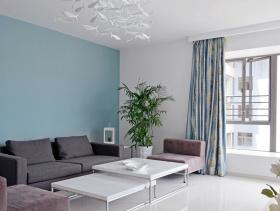 简雅大气白色北欧风客厅设计