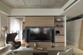 现代简约原木客厅背景墙设计