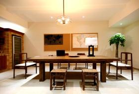新中式古韵原木餐厅装修设计
