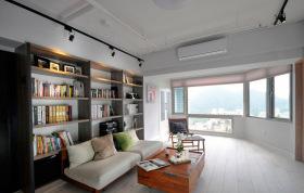 简约大户型客厅背景墙书柜设计
