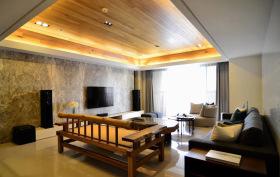 新中式奢华客厅实木吊顶设计