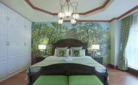森系现代卧室背景墙设计