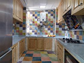 简约美式彩色N字形厨房设计