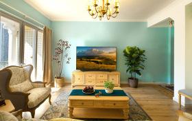 美式薄荷客厅背景墙装饰设计