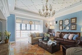 美式复古经典典雅客厅装修设计