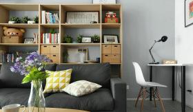 开放式客厅书房原木风设计