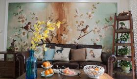 经典美式简约自然风沙发背景墙设计