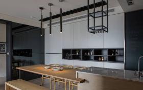 现代男性理性开放式厨房餐厅设计