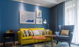 现代蓝色简约宜家客厅设计