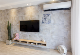 水泥风简约电视背景墙装修设计