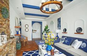 简约清新海洋地中海风客厅设计