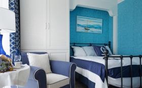 地中海混搭海军风卧室设计