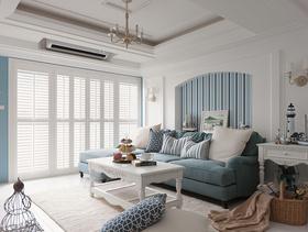 美式海洋三居室清爽装修