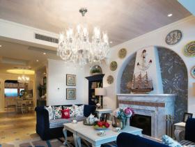 蓝色系美式休闲二居室装修案例欣赏