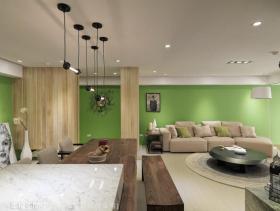 绿色温润简约风三居室装修设计效果图集