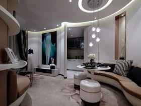 曲线空间现代风格创意三居装潢设计