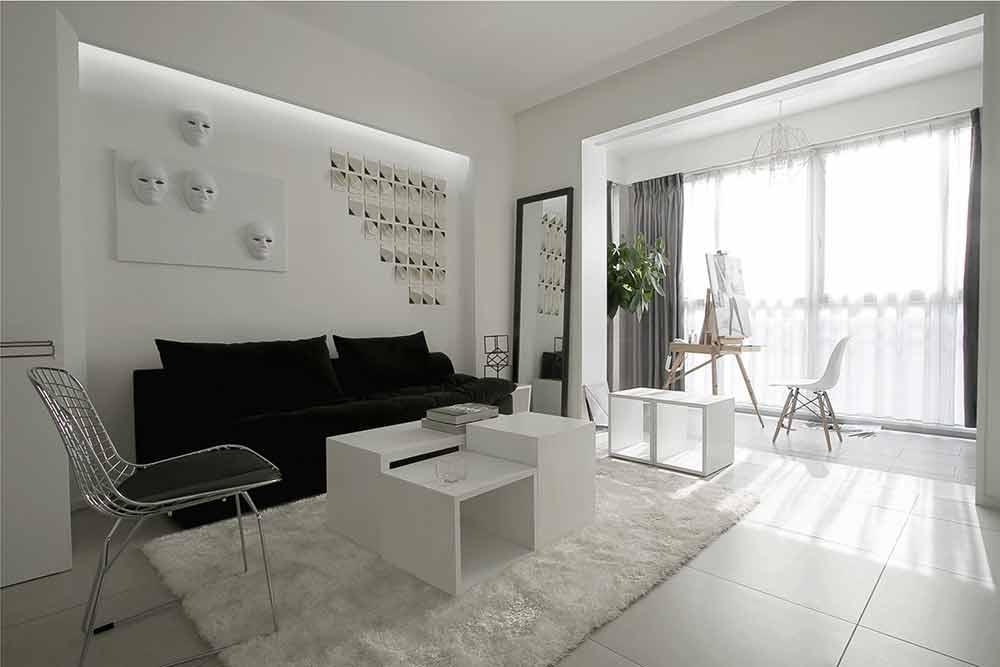 黑白极简主义风格两居室